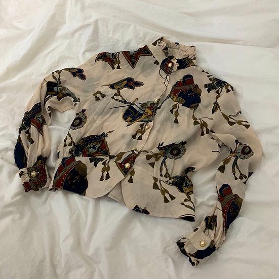 Printed Silk Blend Peplum Shirt