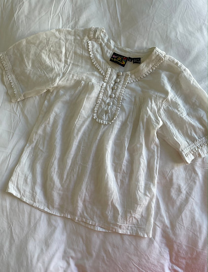 Cotton Voile Soft tuck Embellished Top - size 8/10