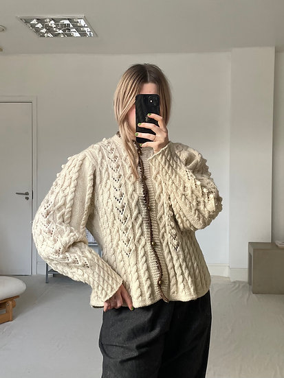 Wool Cable Cardigan with Bell Sleeve