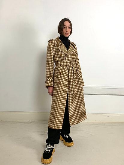 Premium Check Longline Wool Trench