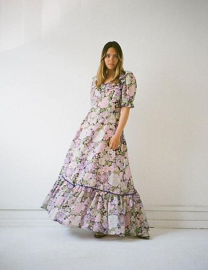Floral Velvet Trim Maxi Frill Dress