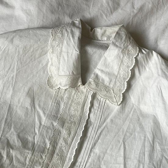 Oversized Cotton Lace Trim Shirt