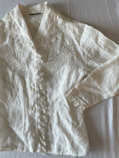 "Linen Lace Collar ""Senorita"" Blouse"