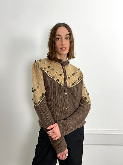 Wool Colour Blocked Craft Knit Cardi
