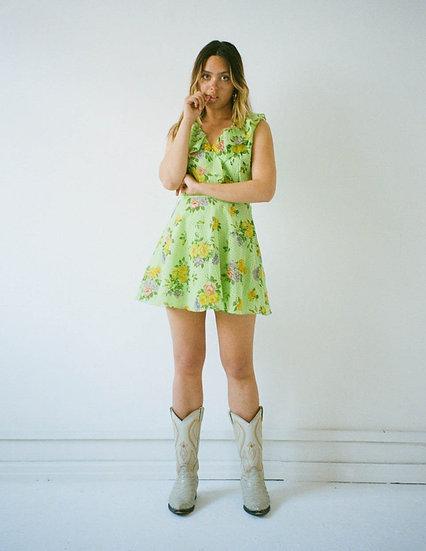 Floral Polka Jacquard Frill Mini Dress