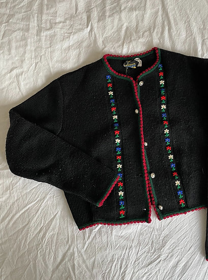 Embroidered Austrian Pure Wool Knitted Cardigan