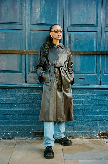 Harrods Premium Real Leather Belted Coat