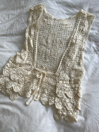 Crochet Cotton Tie Front Vest - size small