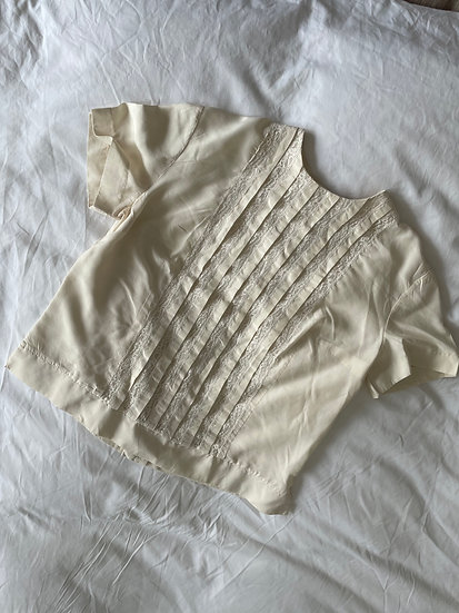 Silk Pin-Tuck Lace Insert Top - size 8