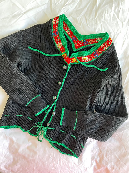 Embroidered Craft Wool Cardigan