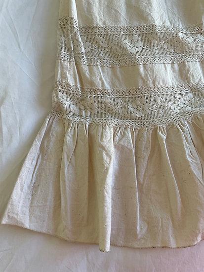 Cotton Lace insert Frill Maxi Skirt