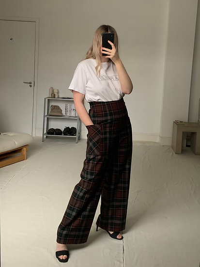 Wide Leg Check High Waisted Trousers