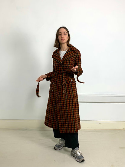Wool Check Longline Trench