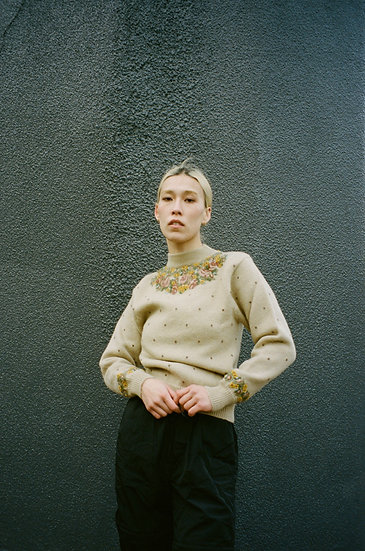 Embroidered Pure Wool Turtle Neck