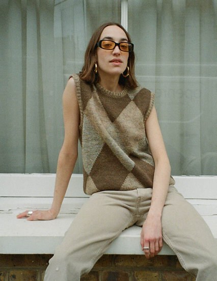 Argyle Wool Knitted Tank