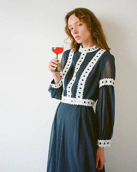 Cotton Lace Trim Maxi Dress