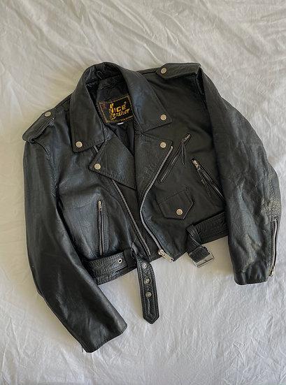Real Leather Boxy Cropped Biker Jacket