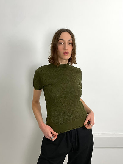 High Neck Pointelle Knitted short Sleeve Top