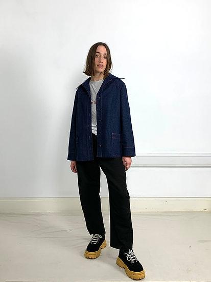 Denim Utility Jacket with Dagger Collar