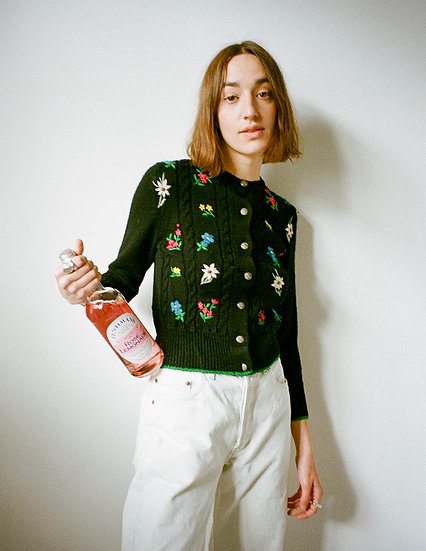 Wool Embroidered Cable Cardigan