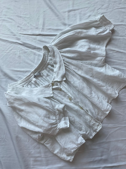 Linen Pleated Volume Cropped Shirt