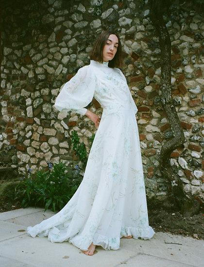 Floral Balloon Sleeve Maxi Dress - size 8/10
