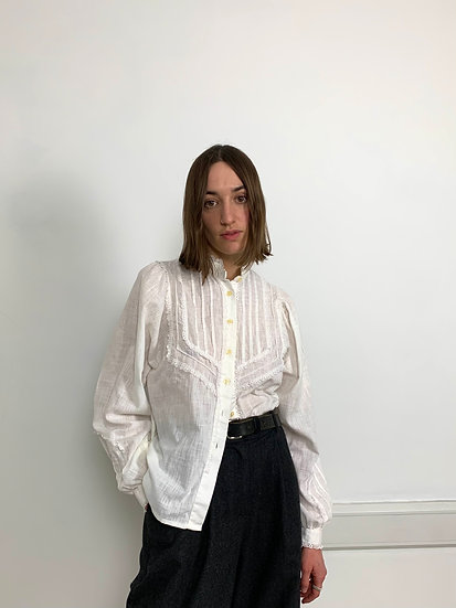 High Collared Puff Sleeve Cotton Blend blouse