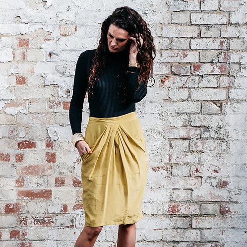 Silk Pencil pleat skirt