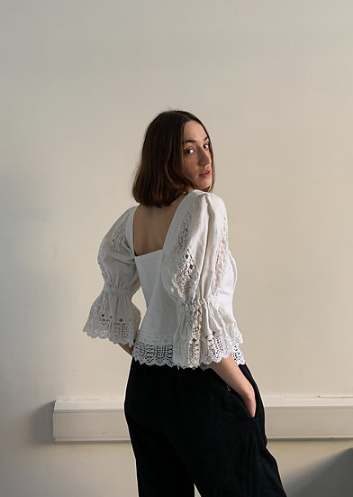 Cotton Puffed Sleeve Button Through Blouse