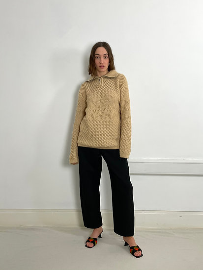Zip Neck Cable Knit