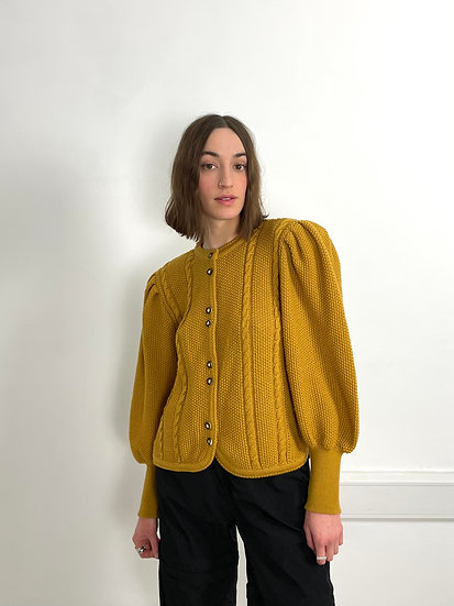 Knitted Bell Sleeve Pure Wool Cardigan