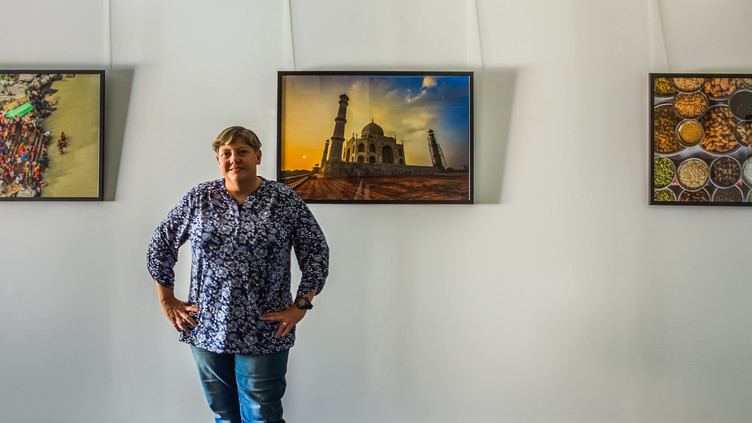 Image of Susan Blick at her latest exhibition, Encounter India.