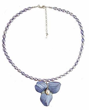 Trillium Pendant on Pearls