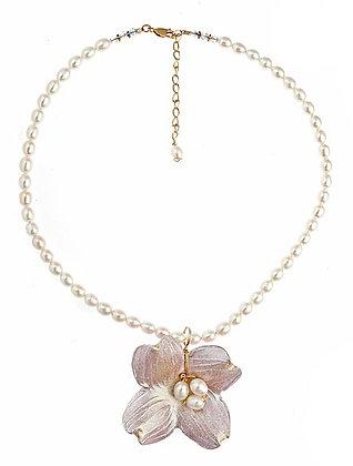 Dogwood Pendant on Pearls