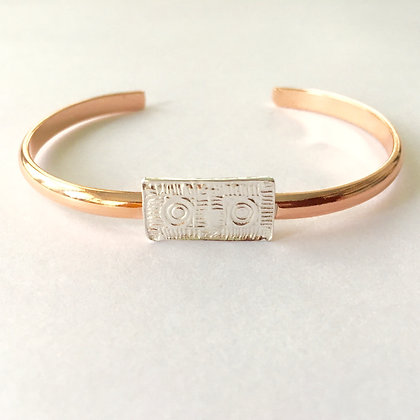 Copper Cuff Bracelet with Silver Brick
