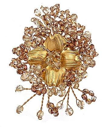 Precious Metal Floral Brooch