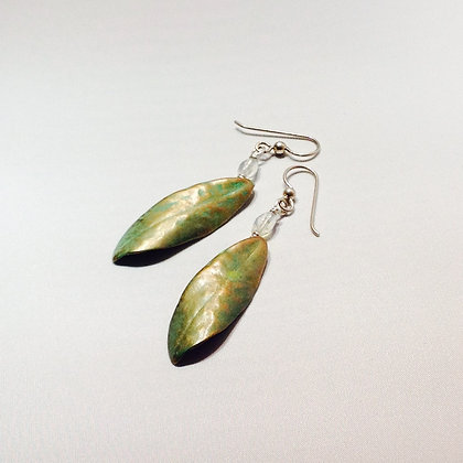 Rhododendron Green Patina Earrings