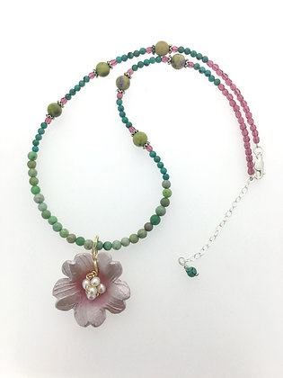 Cherry Blossom on pattern Necklace