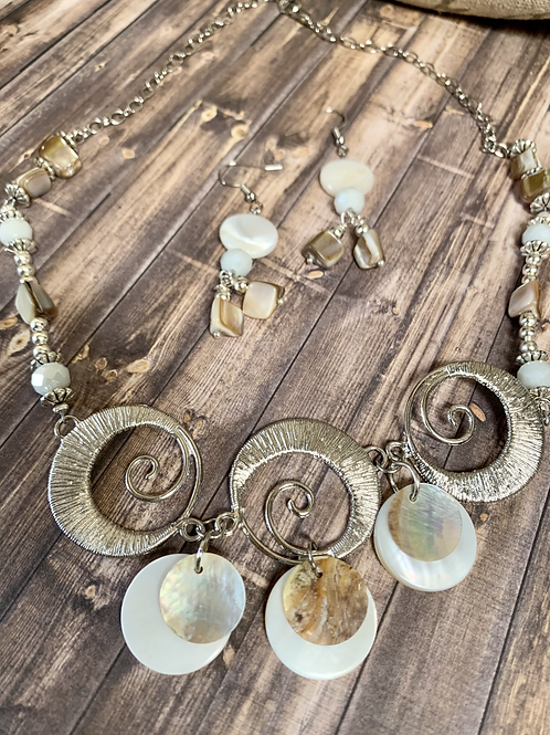Natural seashells, mother pearl  necklace and earrings set