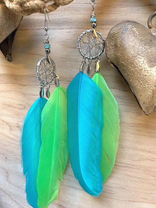 2 feathers Turquoise blue e green with silver dream catcher earrings