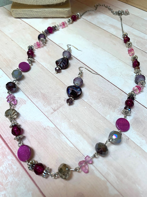 Purple and pink chain necklace and earrings