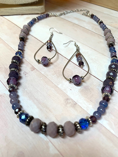 Purple, blue beads necklace and earrings