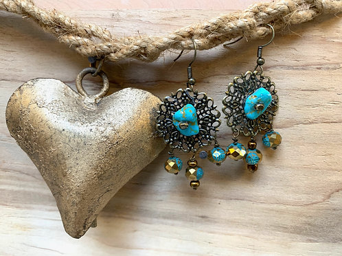 Turquoise and crystal beads