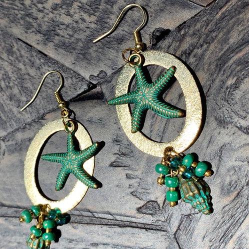 Golden E-coated Verdigris Green Charms Earrings