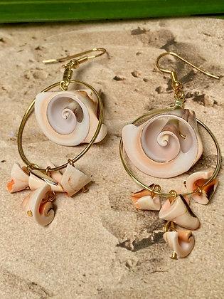 Red Lip Seashell and Everlasting Earrings