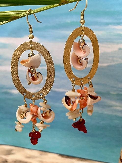 Everlasting Shell & Corals, oval e-coated earrings