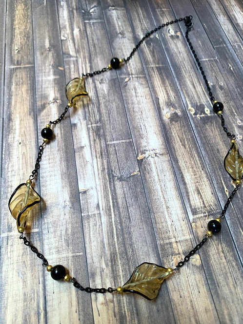 Twisted glass bead necklace