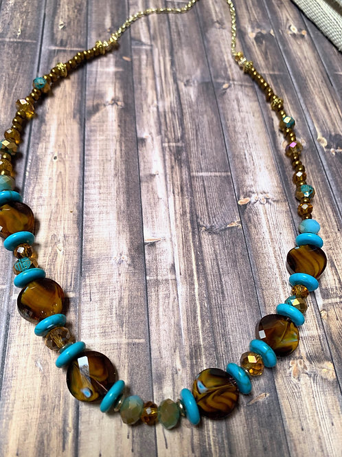 Brown and Blue Turquoise Necklace & Earrings