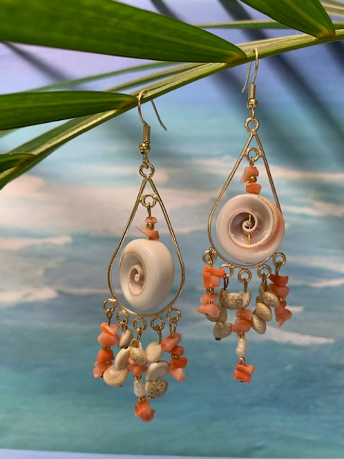 Red Lip Seashell and Pink Coral Charms Earrings