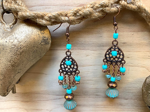 Brass and glass & crystals beads earrings